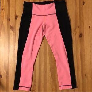 Lululemon Pink & Black Crop Leggings